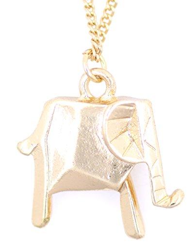 lizzyoftheflowers–Super Niedlicher Gold Origami Elefant Halskette, sieht wie eine Papier Elefant zusammenklappbar, allerdings aus Metall