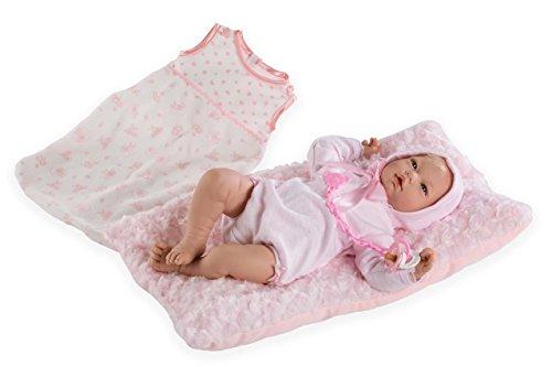 Puppen Guca - Sexpuppe Reborn Sofia 46 cm mit BODI, Kissen und SAQUITO Rosa Gemustert (10035)