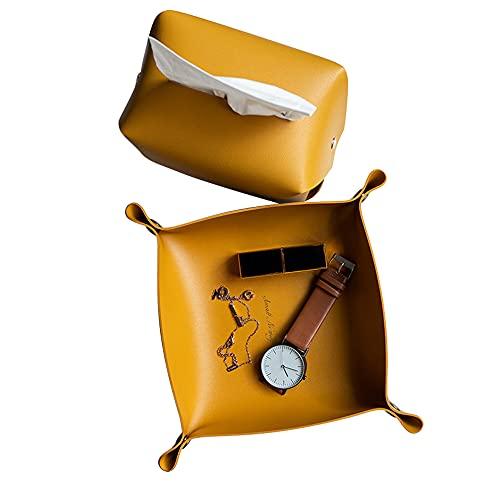 Dr.Taylor Bandeja de Cuero para Relojes de Joyería Teléfono Llave Dados, Bandeja de Valet de Catchall Multiuso con Caja de Tejido para la Mesa de Montura de Almacenamiento y Mesa de Estar,Yellowset
