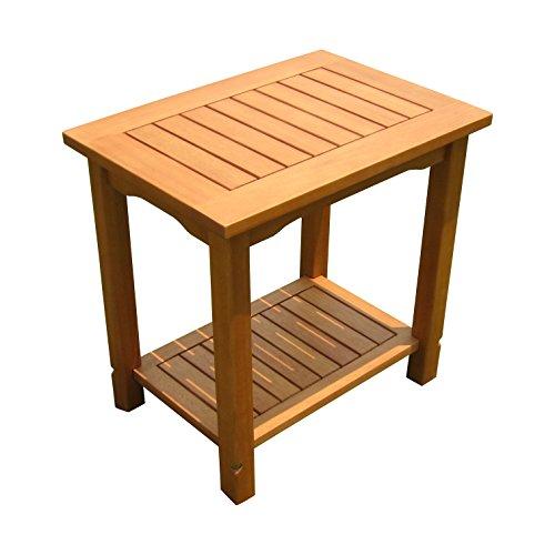 Spetebo Eukalyptus Beistelltisch geölt - 50x35 cm - Holz Garten Tisch klein mit 2 Ablagen
