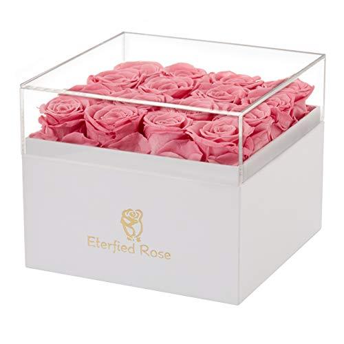 Eterfield Rosenbox Flowerbox mit 16 Infinity Rosen Geschenk 3 Jahre Haltbar für Sie (Rosa, Square Box)