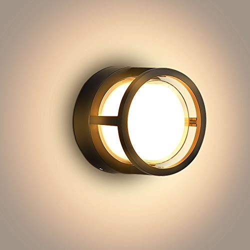 Lightsjoy Lámpara de Pared Exterior Apliques LED Interior 18W Impermeable IP66 Luz de Aluminio Acrílico Iluminación Moderna para Patio, Jardín, Camino, Corredor, Redondo, 3000K Blanco Cálido
