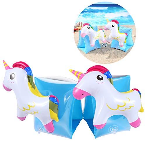 FGen Manguitos Hinchables,Brazaletes Manguitos de Natación Unicornio,Juguete Inflable de Piscina, Ayudas para la natación para Niños de 2 a 8 Años (Un par)
