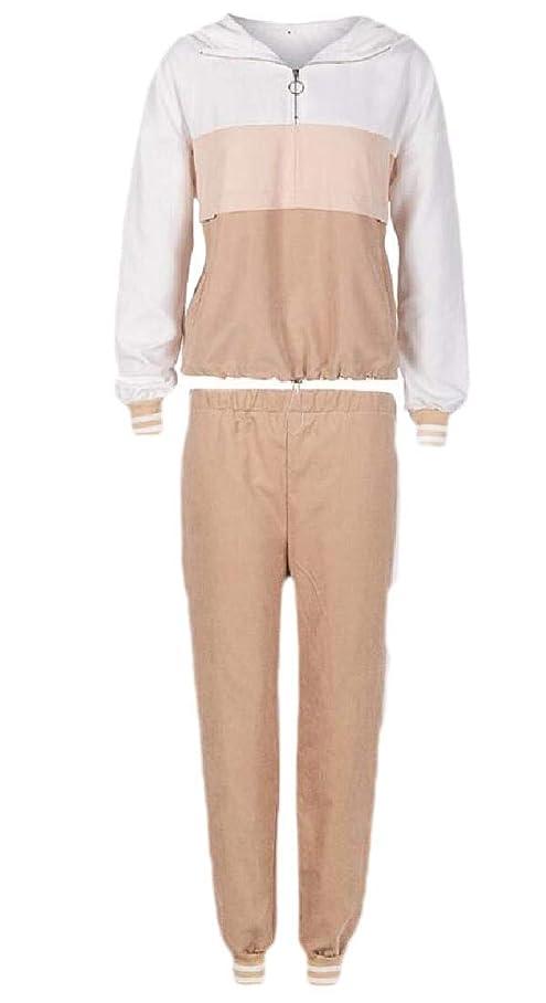 常習者防水過半数女性2ピースカラーブロックトラックスーツは、スウィートのパーカートップパンツ+パンツセットスポーツウェア