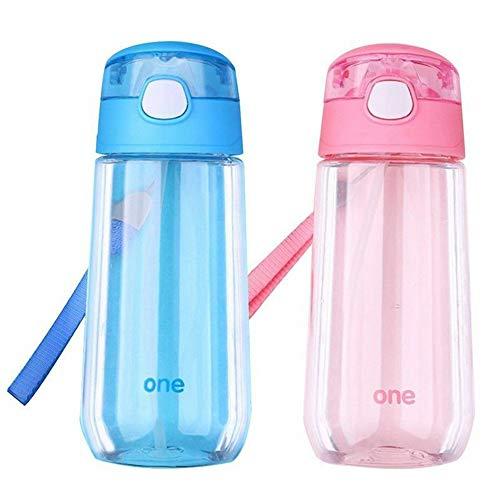 YUXIAOYU Botella De Agua Plástica De 500 Ml, Botella De Bebida Deportiva con Pajita Y Mango, Tazas De Viaje Reutilizables para Niñas, Sin BPA