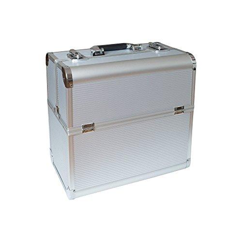 N&BF, valigia professionale per cosmetici, in alluminio, per parrucchieri, estetisti, trucchi, nail art, con serratura, a 2piani, con scomparti suddivisi, colore argento