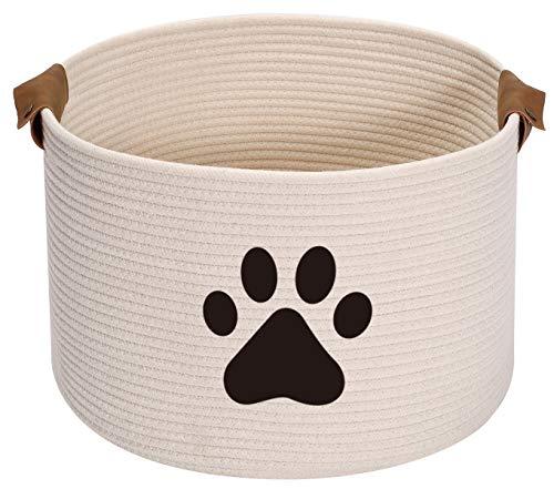 Geyecete Cesta de almacenamiento para perro redondo para perro, cuerda de almacenamiento, cesta de almacenamiento para mascotas/Doy Toy Box canasta de almacenamiento para perros, color beige