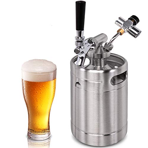 Pressurized Beer Mini Keg System - 64oz Stainless Steel Growler Tap, Portable Mini Keg Dispenser Kegerator Kit, Co2 Pressure Regulator Keeps Carbonation for Craft Beer, Draft and...