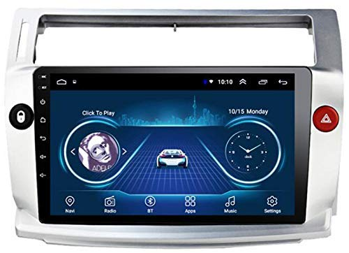 Sat Android Car Stereo Auto Player Radio GPS Navigation 10.1 Pulgadas Audio - Aplicable para Citroen C4 Quatre 2004-2009, Media Digital FM Unidad de Cabeza Multimedia