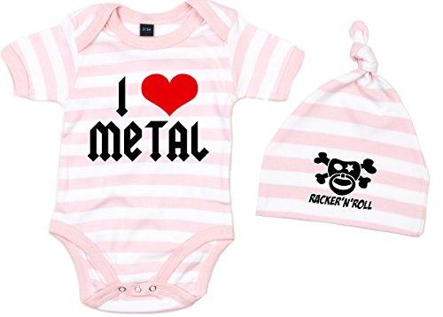 Racker-n-Roll I Love Metal Body + czapka zestaw Baby-Body w paski różowo-biały