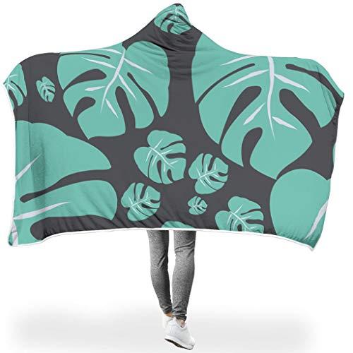 XHJQ88 Fledermausdecke Tropical Leaf Design Drucken Leichtgewicht Warm Decken mit Hut - Black Universal Passt Männer Verwenden White 130x150cm