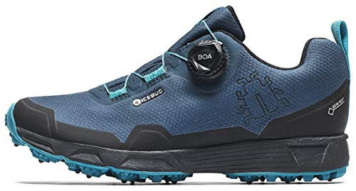 Icebug Womens Rover BUGrip GTX Trail Running Shoe with Carbide Studded Traction Sole, Nightsky/Aquamarine, 6