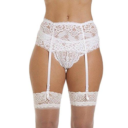 Cszxx Strumpfhalter Damen 4-Strap Lace Strumpfhosen Strapse (Weiß)
