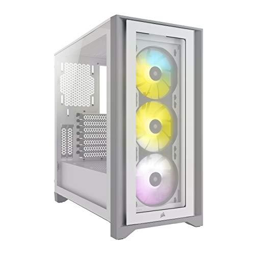Corsair iCUE 4000X RGB Mid-Tower-ATX-Gehäuse mit Gehärtetem Glas (Seiten-& Frontscheiben aus Gehärtetem Glas, RapidRoute-Kabelführungssystem, Drei im Lieferumfang 120-mm-RGB-Lüfter) Weiß