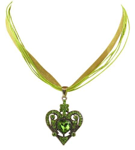 Trachtenschmuck Dirndl Kette Kristall Herz ornamentales Design - Peridot hellgrün