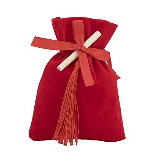 CartaIn Net Laurea Rossi aksamitna torebka na wesele, z pergaminą