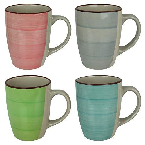 Kaffeetassen Porzellan bunt 4 Stück Kaffee Cappuccino Tassen Set Kaffeebecher Henkeltassen