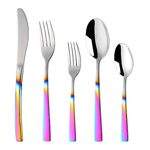 Buyer Star 20-teiliges Besteckset mit Farbverlauf, Regenbogenfarben, Metall, Edelstahl, Besteck-Set, wiederverwendbar