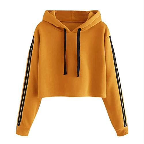 ZCMWY Womens Blouse Autumn Winter Long Sleeve Blouse Striped Long Sleeve Hoodie Sweatshirt Jumper Hooded Pullover Tops Blouse Xl Yellow