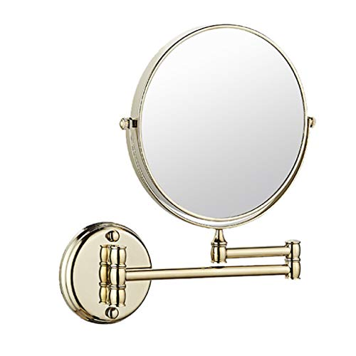 ALYR Miroir de Maquillage, Support de Salle de Bains, Miroir de Maquillage, cosmétique Double Face Pliable,Gold_8 inch
