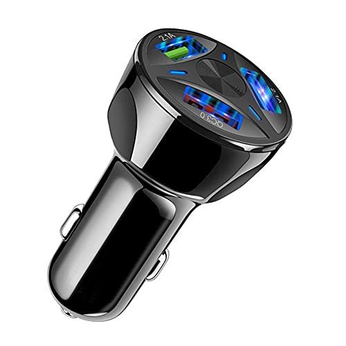 iSpchen Cargador de Coche Usb, Cargador Móvil Para Coche 35W Qc3.0 Carga Rápida Adaptador de Cargador de Coche de 3 Puertos Cargador de Coche Usb de 3 Puertos Para Teléfonos Inteligentes, Coche