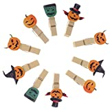 TOPBATHY 10Pcs Halloween Wooden Cute Clothespins Colorful Photo Clips Mini Clips for Scrapbooking Wood Crafts