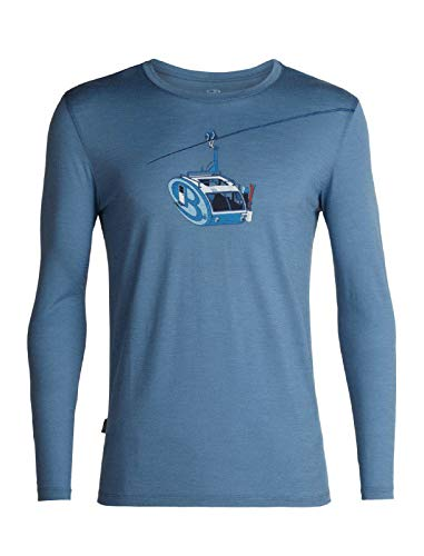 icebreaker Herren Merino Tech Lite Long Sleeve T-Shirt W/Graphic Merino Wool, Herren, athletische T-Shirts, Men's Tech Lite Long Sleeve Crewe Camper Lift, Granitblau, X-Large