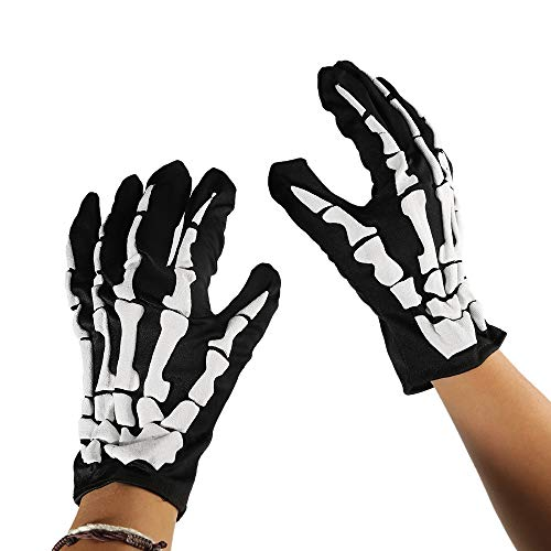 TRIXES Unisex Skelett Knochenhandschuhe in Schwarz und Weiß Einheitsgröße für Erwachsene
