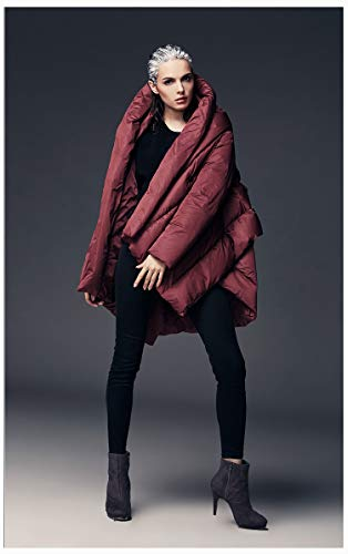 Jejhmy Mode Frauen Daunenmantel Mantel weiblichen asymmetrischen Langen Kapuzenmantel Trenchcoat Wintermantel eine Größe weinrot