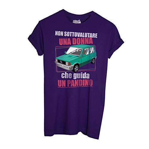 MUSH T-Shirt Non Sottovalutare Una Donna Che Guida Un PANDINO-Panda Fiat - Social by Dress Your Style - Donna-M-Viola