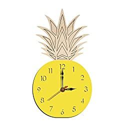 Wall Clock Home Living Room Fruit Mute Wooden Clock Pineapple Acrylic Clock,Ye