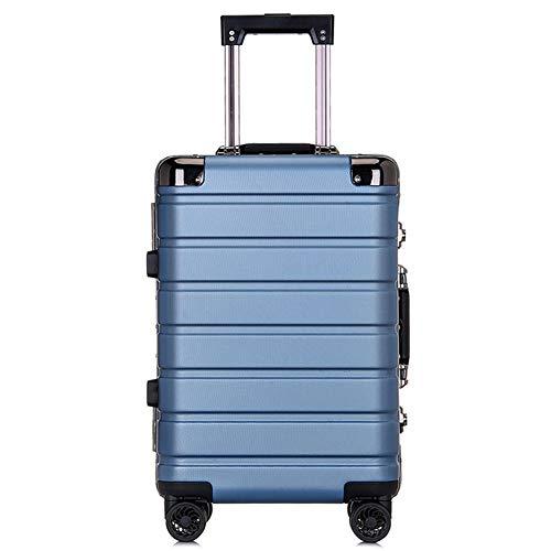 LDHY Hardcase-Trolley, 20-Zoll-Business-Aluminium-Rahmengepäck, 4 drehbare Universalräder, 24-Zoll-Schüler beim Einsteigen in das Fahrgestell, 4 kg (64 cm, 55 l)-DenimBlue-[20in] 34x22x55cm