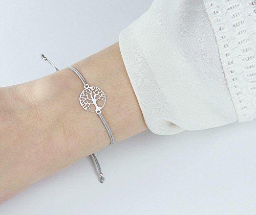 SCHOSCHON Damen Armband Lebensbaum 925 Silber Grau // Geschenkideen Geschenk Baum des Lebens Weltenbaum Freundschaftsarmband Schmuck