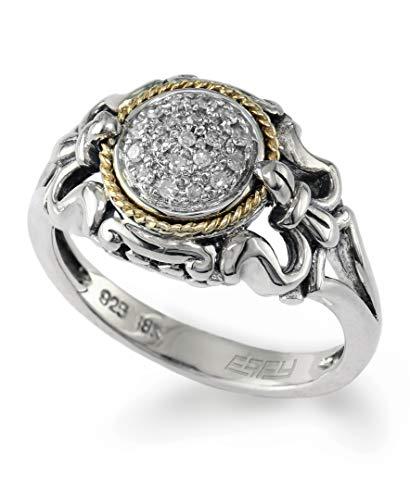 EFFY 925 STERLING SILVER/18K YELLOW GOLD DIAMOND RING