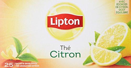 Lipton Thé Noir Citron, Label Rainforest Alliance, 25 Sachets