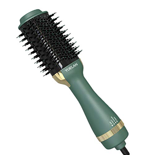 Hot Air Brush Blow Dryer, Hair Dryer Brushes & Volumizer, Curler Combo, Anti-scald Negative Ion Hair Straightener Brush, Low Noise Design (Avocado-Green)
