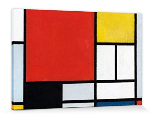1art1 Piet Mondrian - Composición con Plano Grande En Rojo, 1921 Cuadro, Lienzo Montado sobre Bastidor (120 x 80cm)