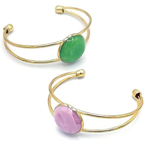 Bracelet semi-rigide réglable doré en laiton, décoré d'une pierre entièrement façonnée à la main (Rose)