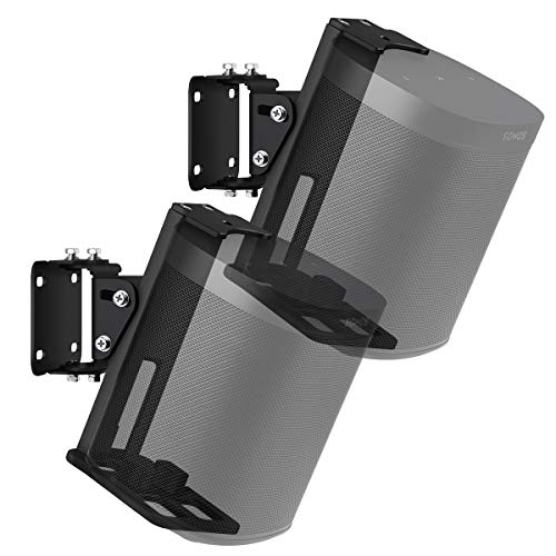 Galdoo Adjustable Wall Mount for Sonos One, Metal Anti-Rust Wall Mounting Holder for Sonos Speakers with Swivel Adjustment and Full Installation Accessories-Pair