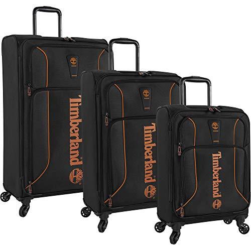 Timberland 3 Piece Hardside Spinner Luggage Suitcase Set, Jet Black, One Size