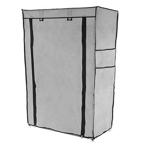 PrimeMatik - Garderobekast en schoenenrek in afneembare stof 60 x 30 x 93 cm grijs met roldeur