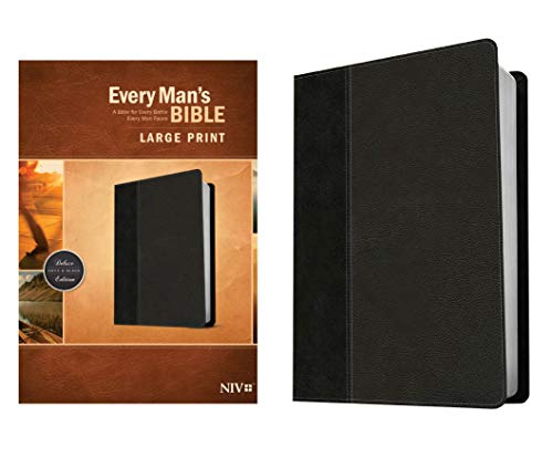 Compare Textbook Prices for Every Man's Bible NIV, Large Print, TuTone LeatherLike, Onyx/Black – Study Bible for Men with Study Notes, Book Introductions, and 44 Charts Large type / Large print Edition ISBN 9781496409133 by Arterburn, Stephen,Merrill, Dean