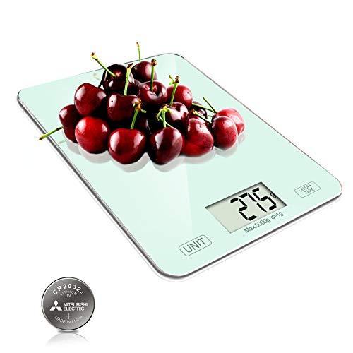 CORESLUX Digitale Küchenwaage, 1g bis 5 Kg Lebensmittelwaage, Elektronische Haushaltswaage mit LCD-Display,Tara-Funktion Küchenwaage Backen und Kochen (Weiß)