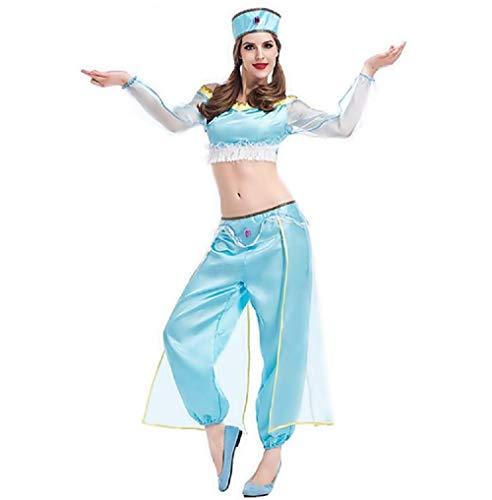 Lovelegis Costume da Principessa Jasmine - Odalisca Danzatrice Orientale Danza del Ventre - Musulmana Araba per Donna Ragazza Adulti - Halloween Cosplay - Colore Azzurro - Taglia Unica