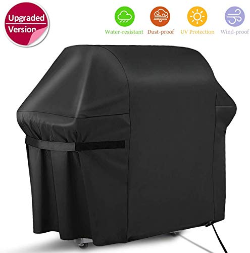 """RATEL BBQ Grill Cover, 58"""" Waterproof Barbecue Cover, 420D Oxford Cloth Heavy Duty Gas Grill Cover - UV & Fade Resistant, Rip-Proof, for Weber, Brinkmann, Char Broil, Holland (58"""" x 24"""" x 48"""", Black Covers Grill"""