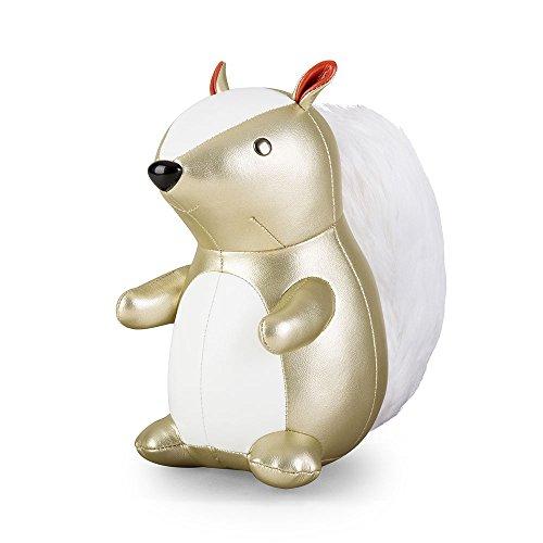Züny - boekensteun - Squirrel, eekhoorntje - goud/wit - X-Mas - 1 kg - 22 x 12 x 20,5 cm