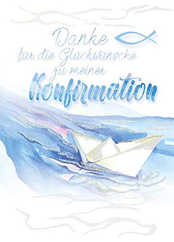 5 x Dankeskarten Konfirmation von KE - Danksagung - Danksagungskarten - Für Jungen & Mädchen - Mit Glitzer - DIN C6-5er Set Klappkarten inkl. Umschläge - Motiv: Boot_D
