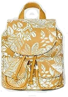 New Wild Fable Floral Print Mini Drawstring Flap Backpack Yellow Snap Closure