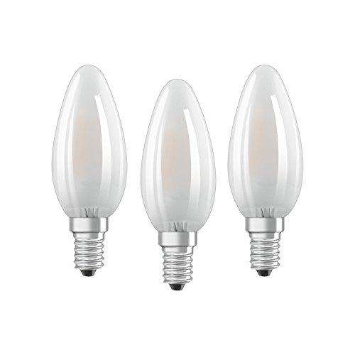 Osram LED Base Classic B Lampe, in Kerzenform mit E14-Sockel, nicht dimmbar, Ersetzt 40 Watt, Matt, Warmweiß - 2700 Kelvin, 3er-Pack