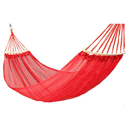 EVERAIEWR Garden Camping Hammock Outdoor Double Mesh Indoor Dormitory Dormitory Adult and Child Sleeping Chair Outdoor Travel Hammock (Color : Red, Size : 200x150cm)